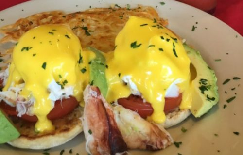Crab Benedict at Beach Street Grill in Fisherman's Wharf.