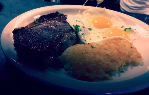 Steak and eggs at Beach Street Grill in Fisherman's Wharf.