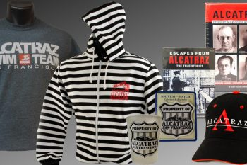 Alcatraz related merchandise including shirts, hats, mugs and books