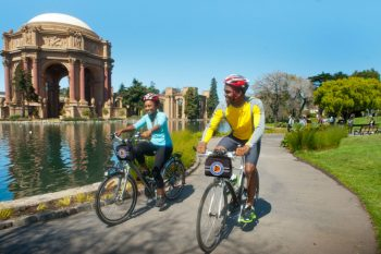 Biking near the Palace of Fine Arts - San Francisco