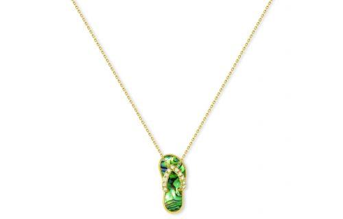 Na Hoku, Abalone & Diamond Hawaiian Slipper Pendant