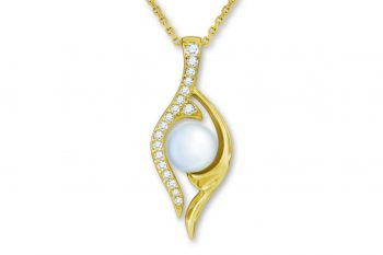 Pearl Factory, Pearl & Diamond Maile Pendant