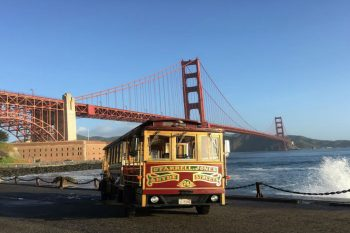 Hornblower Classic Cable Cars at Fort Point, San Francisco