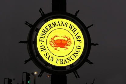 Fishermans Wharf Sign at Night