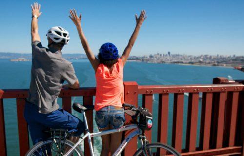 Blazing Saddles Biking the Golden Gate Bridge in San Francisco.