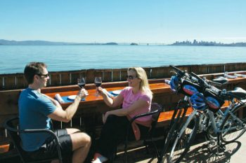 A couple dining in Sausalito after biking.