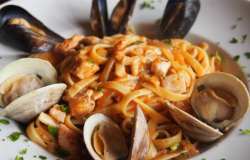 Seafood fettuccine at Cioppino's Restaurant
